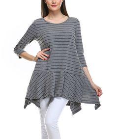 Love this Gray & Blue Stripe Asymmetrical Tunic - Plus on #zulily! #zulilyfinds