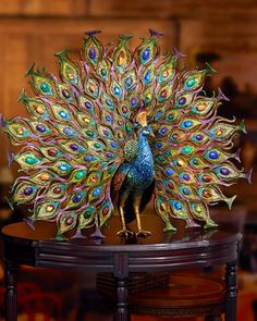 Jay Strongwater Stanton Fan Tail Peacock Figurine