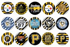 "Pittsburgh Sports Steelers, Pirates, Penguins INSPIRED   - 1"" Image Sheet for use on bottle caps, necklaces, bow centers, crafts, confetti, ..."
