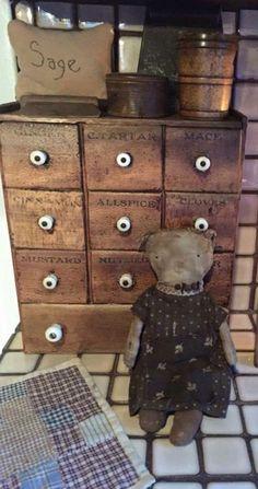 Prim doll AND spice cabinet Primitive Antiques, Primitive Decor, Country Primitive, Prim Decor, Country Decor, Farmhouse Decor, Old Dolls, Antique Dolls, Spice Cabinets