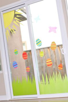 mindy from creative juice is so smart!!! tissue paper + heavy fabric starch = awesome window decor! <3