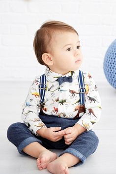 2Pcs Set Outfit Baby Boy Clothes Sets Toddler Shirt Top+Bib Pants Overall Costume Kids Clothing Set for 9M-2Y