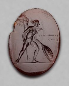 Oval gem with Eros with spear and shield. Greek Late Classical or Early Hellenistic Period B. Roman Jewelry, Greek Jewelry, Cameo Jewelry, Jewelry Art, Ancient Jewelry, Antique Jewelry, Ancient Greek Sculpture, Bohemia Jewelry, Hellenistic Period