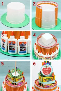 "School Supply Cake Tutorial - The Craft Patch - This awesome ""cake"" made of school supplies is a perfect teacher appreciation gift! Thank You Teacher Gifts, Great Teacher Gifts, Teacher Party, Mountain Dew, Teacher Appreciation Luncheon, School Supplies Cake, Cake Supplies, Classroom Supplies, Special Gifts For Him"