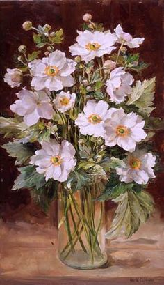 Anne Cotterill Anne Cotterill was an artist whose outstanding oil paintings of flowers are familiar to many through the reproductions of her paintings on cards and prints. Modest and retiring in nature, she was… Watercolor Flowers, Watercolor Paintings, Painting Canvas, Flower Artists, Still Life Flowers, Plant Drawing, Still Life Art, Arte Floral, Beautiful Paintings