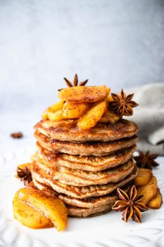 Fall calls for apples and definitely for theseVegan Apple Cinnamon Pancakes! If you like apple pie and pancakes, then you will love these pancakes. It is the perfect combo of soft and fluffy pancakes with a warming cinnamon spice. Topped off with apples simmered in maple syrup and cinnamon.