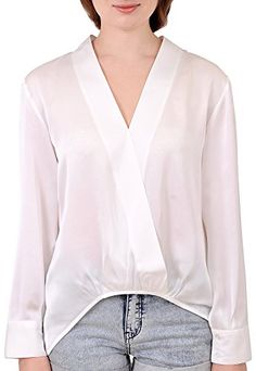 3cd0fe593 Marycrafts Womens Kimono Wrap V Neck Hi Lo Asymmetrical Blouse Top 22 Green  at Amazon Women s Clothing store