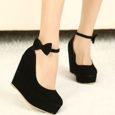 European Style Elegant Bowknot Wedge Shoes