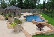 Freeform Pool With Spa, Firepit & Outdoor Living Space