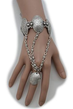 527f88e512b4 TFJ Women Ethnic Fashion Jewelry Vintage Hand Chain Antique Silver Metal  Bracelet Slave Ring Oval Shape