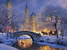 Winter night in central park - holidays, colorful, horse, beautiful, river, painting, lights, new york, lovely, night, snow, bridge, ducks, city, ny, central park, pretty