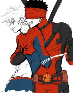 Okay not only am I a spideypool shipper but I also love Naruto, so obviously I had to pin this