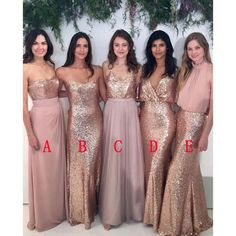 2017 Most Popular Sequin Mismatched Long Wedding Bridesmaid Dresses, WG412