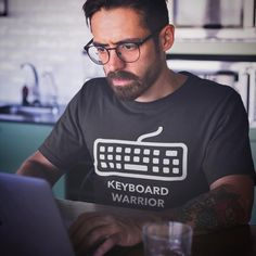 Keyboard warrior here how about you. Keyboard Warrior, Programmer Humor, Graphic Shirts, Design Agency, Funny Shirts, Shirt Designs, Web Design, Mens Tops, Instagram