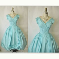 50's Prom Dress // Vintage 1950's Robin's Egg by TheVintageStudio.
