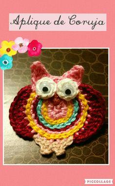 Aplique de Coruja utilizando a técnica do crochet.