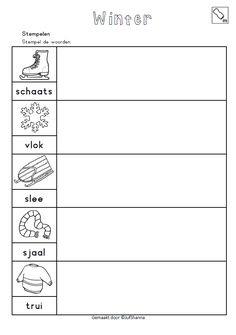 Stempel de woorden. [jufshanna.nl] Winter Wonderland, Spelling, Letters, Teaching, Math, School, Stage, Winter, Mathematics