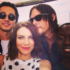 Pin for Later: 21 Celebrity Instagrams That Take You Inside Comic-Con  The Walking Dead costars Steven Yeun, Lauren Cohan, Norman Reedus, and Danai Gurira cozied up for a selfie. Source: Instagram user amcthewalkingdead