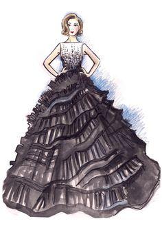 Dior gown illustration by Sara Japanwalla