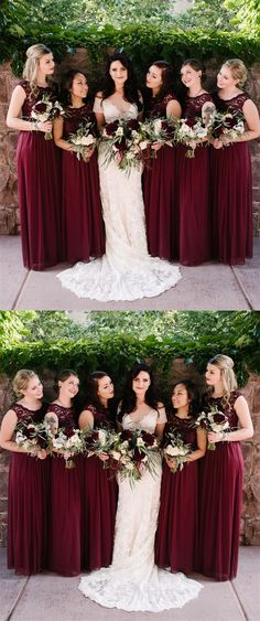 modest burgundy long chiffon bridesmaid dresses,country lace sleeveless a line wedding party dress for guest #wedding #bridesmaids