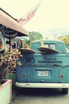 surfboards and vintage cars (by pastryaffair)