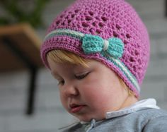 "Crochet PATTERN ""Kasie Beanie"", girls crochet pattern, hat, beanie, newsboy cap, bow, flower, PATTERN ONLY"