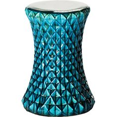 Add a fashion-forward touch to any room with this terracotta garden stool, showcasing an eye-catching teal diamond pattern.   Produc...