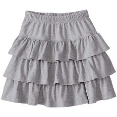 Hanna Andersson Heather Gray Ruffle and Twirl Skirt ($20) ❤ liked on Polyvore featuring skirts, hanna andersson, frilled skirt, heather grey skirt, frilly skirt and frill skirt