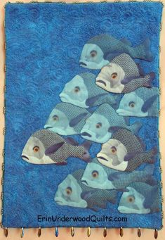 """Holy Mackerel"" by Erin Underwood. Shadow trapunto; machine quilting; hand beading."