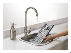 Logitech Washable Keyboard K310 is waterproof, washes grease right off