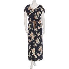 Pre-owned Pomand?re Floral Print Maxi Dress ($175) ❤ liked on Polyvore featuring dresses, flower print dress, maxi dresses, pink maxi dress, floral print maxi dress and v neck maxi dress