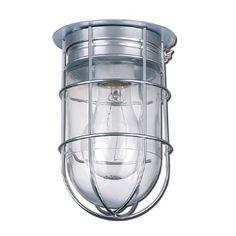 Plafonnier intérieur ou extérieur de couleur argent brossé avec verre clair et petite grille décorative par dessus.