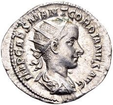 Roman Empire - silver Antoninianus of child emperor Gordianus III (238-244 AD), minted in Rome.