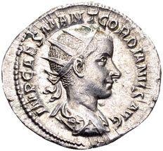 Roman Empire - silver Antoninianus of child emperor Gordianus III (238-244 AD), minted in Rome.