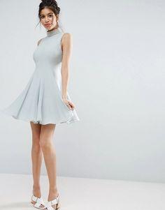 ASOS Pearl Embellished Paneled Seamed Mini Dress