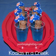Australia Day Party Koalas in a Creek Aussie Food Caramello Koalas in Blue Jelly Australian Party, Australian Food, Aussie Food, Aussie Bbq, Jelly Shots, Dog Cakes, Australia Day, Thinking Day, Party Treats
