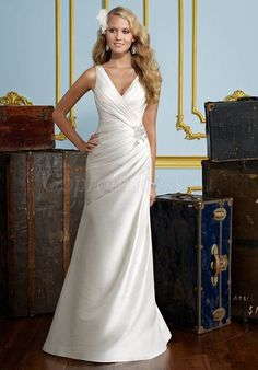 Classic Sheath Taffeta V-neck zipper back pleated Wedding Dress - Gopromdress.co.uk