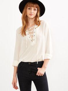 Bluse mit Schnürem V-Ausschnitt vorne kurz hinten lang -weiß