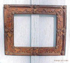 Antique Folk Art Tramp Art Frame W Old Picture Wood