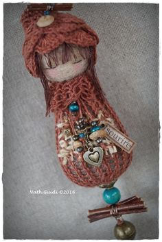 """Decorative hanging, Talisman felted wool, linen, beads, label """"smile"""""""