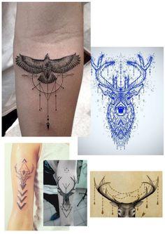 Tattoo deer geometrical inspiratie details katie longtoes