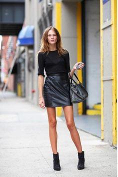 Simple & Chic. Minimalist black leather and boots #minimalist #fashion