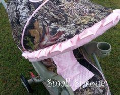 Cutie Pink Owl/Hot Pink Minky Dot Stroller от smallsproutsbaby
