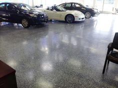 Chevrolet Dealership Interior Polished Concrete Floor with Bomanite Modena Monolithic Chevrolet Dealership, Silverado Truck, Polished Concrete, Chevy Camaro, Concrete Floors, Construction, Trucks, Flooring, Interior
