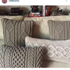 40 Ideas For Crochet Baby Blanket Gray Shades Knitted Pouf, Knitted Cushions, Knitted Blankets, Crochet Pillow, Baby Blanket Crochet, Crochet Baby, Knitting Designs, Knitting Projects, Knitting Patterns