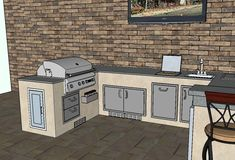 Let our experts help you design the outdoor kitchen you've always dreamed of. Together, we'll create a custom sketch of your new outdoor living space! Outdoor Kitchen Plans, Outdoor Kitchen Design, Outdoor Refrigerator, Kamado Grill, Stainless Steel Doors, Kitchen Gallery, Design Services, Service Design, 3d Sketch