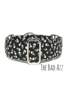 White skulls on a black background. This dog collar can be worn on halloween, or year around. Martingale, standard dog buckle or tag/house collars
