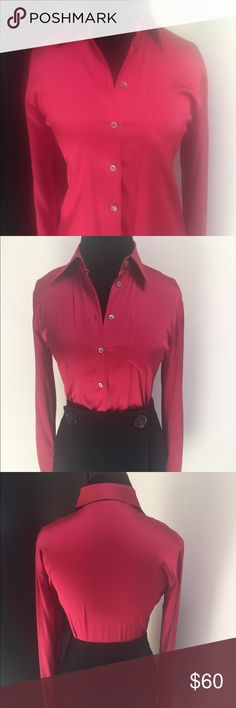 Max Mara Weekend Line Red Silk Blouse Beautiful Red Silk Blouse. Perfect with trousers or skirts. Two small stains on the lower left side. Barley noticeable, can't see it if it's tucked in. Size Small MaxMara Tops Blouses