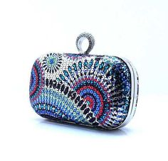 Blue Womens Rhinestone Knuckle Clutch Shoulder Sequin Handbag Chain Purse New | eBay