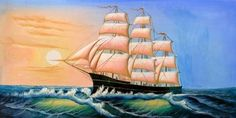 Need This: Oil Painting a Sailing Ship On The Blue Ocean Mac Stone Lip Liner, Sailing Ships, Boat, Ocean, Painting, Dinghy, Painting Art, Boats, The Ocean